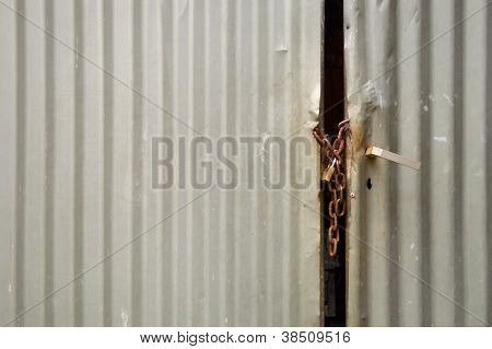 Metal Padlocked Door