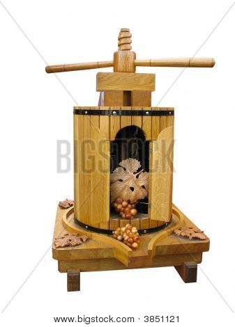 Old Grapes Wine Press Decorative Breadboard Model Isolated Over White Background
