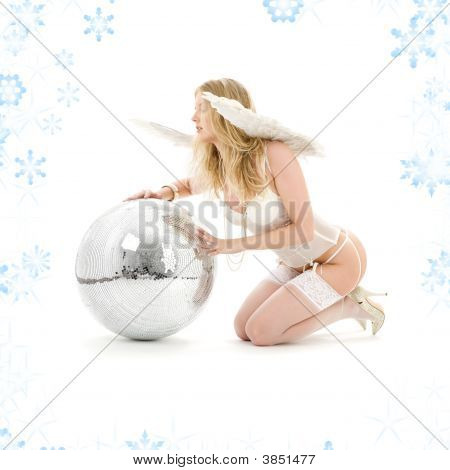 Lingerie Angel With Disco Ball