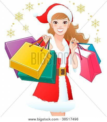 Close-up Santa Girl Shopping Christmas Gifts