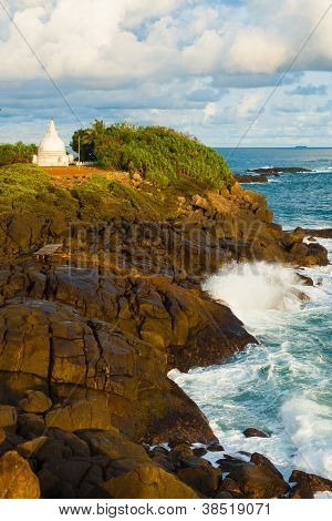 Wave Crashing Over Rock Headland Dagoba Unawatuna