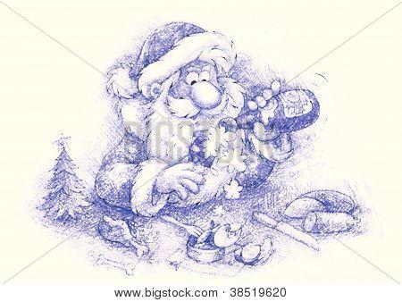 Santa slightly drunk