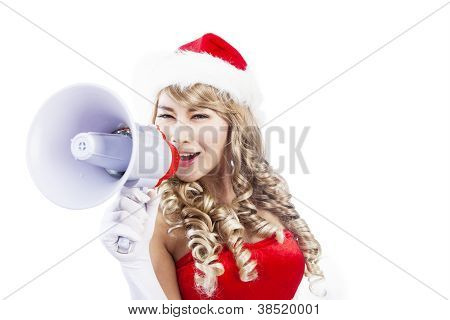 Blonde Santa announce using megaphone-isolated