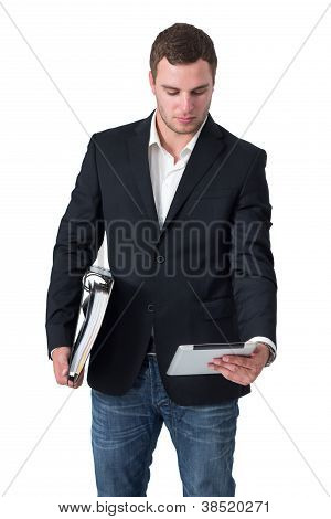 Businessman Looking At Tablet Pc