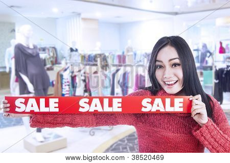 Banner Winter Sale In The Shopping Mall