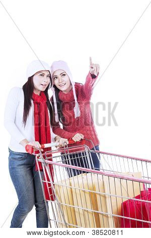 Happy Customers With Trolley Pointing-isolated In White