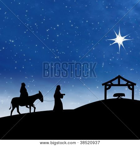 Nativity Jesus Birth On Blue Night Scene