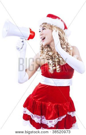 Santa Woman Yelling Through Megaphone-isolated In White