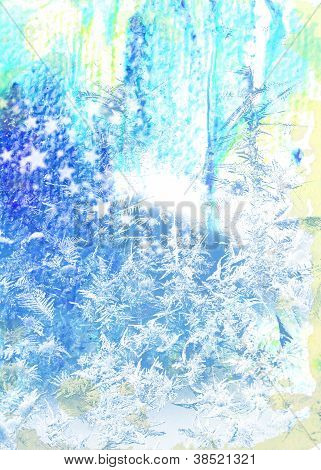 Vintage Christmas Background: Grunge Backdrop With Blue Frosty Patterns