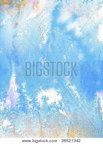 Vintage Christmas Background: Grunge Backdrop With Blue Frosty Patterns