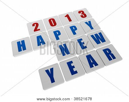 Happy New Year 2013 In White Tablets