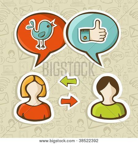 mag und twitter Symbole verbinden Menschen