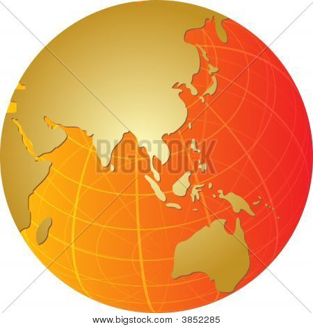 Map Of Asia On Globe Illustration