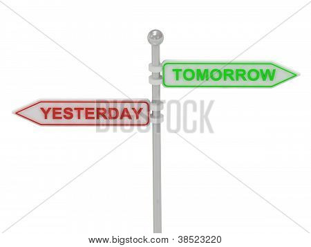 """Signs With Red """"yesterday"""" And Green """"tomorrow"""""""