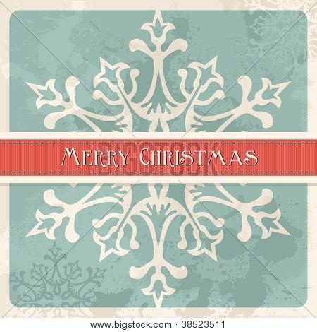 Vintage Merry Christmas Snowflake Postcard
