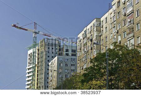 Crane building new flats