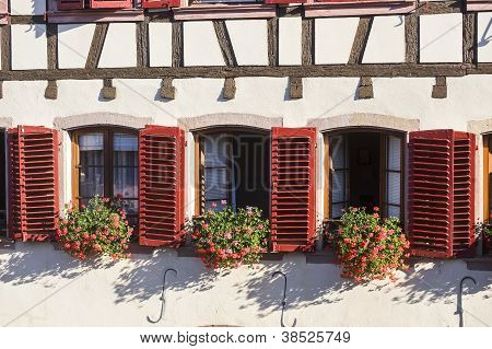 Barr (alsace) Three Windows With Red Shutters