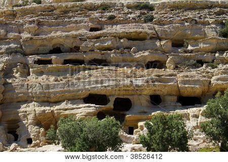 Sandstone cliff in Matala, Crete