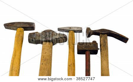 Various Hammer Tool Collection Isolated On White