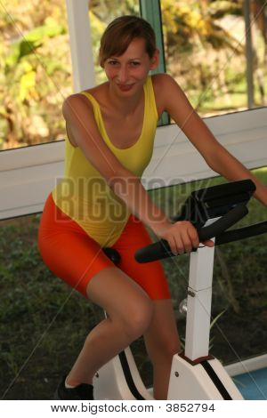 Workout On Fitness Bicycle
