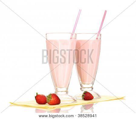 Strawberry milk shakes isolated on white
