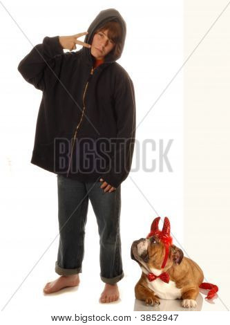 Boy And Dog With Attitude