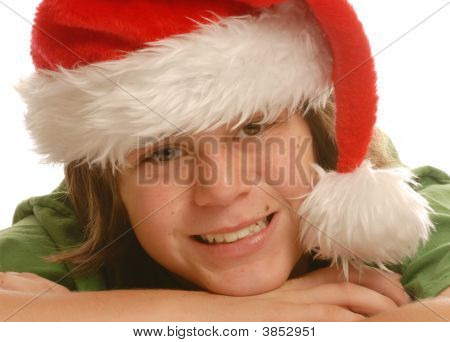 Cute Boy Wearing Santa Hat