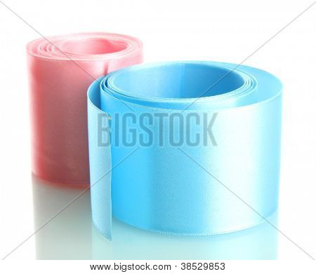 silk ribbons, isolated on white