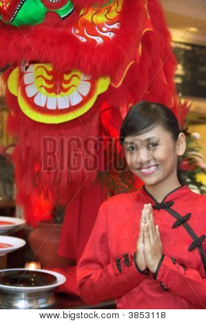 Waitress In Chinese Costume