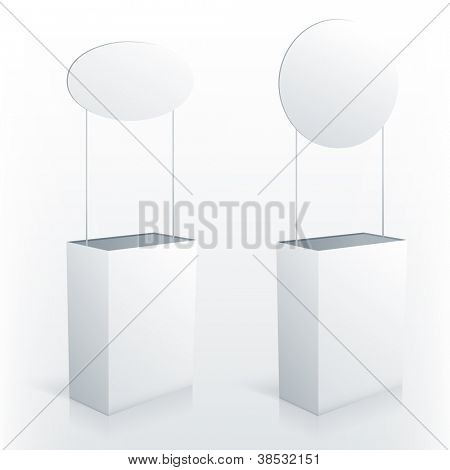 Promotion counter table with round topper. Vector promo stand.