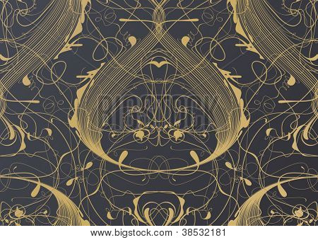 Fashion interior wallpaper pattern.Floral themed ornate seamless pattern.