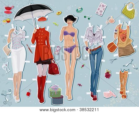 Paper doll of a young beautiful girl and some clothes for her
