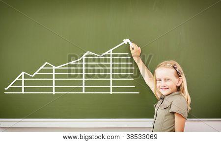 Scoolgirl standing in class near a green blackboard