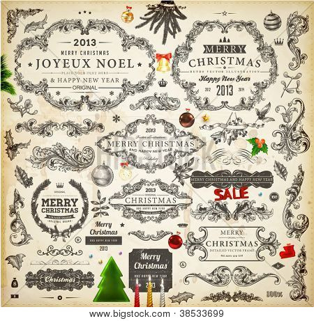 Christmas decoration collection | Set of calligraphic and typographic elements, frames, vintage labels. Candles, garland, bell, hand drawn balls and fur-tree. Vector illustrations for Xmas invitation.