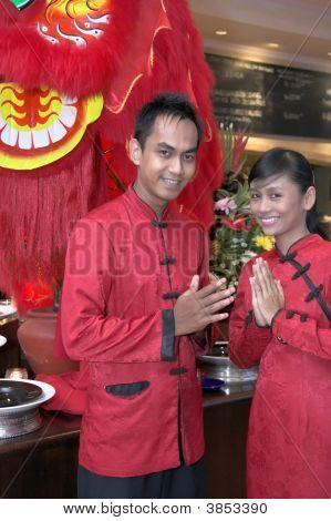 Waiter In Chinese Costume
