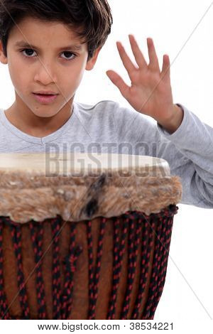 Little boy with bongo drum