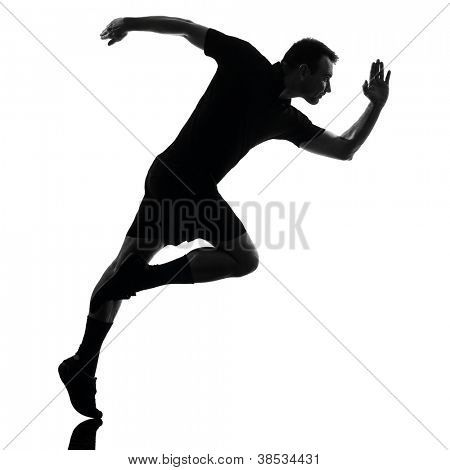one man runner running in studio silhouette isolated on white background