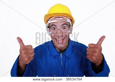 Crazy builder giving the thumbs-up