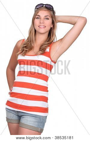 Flirtatious blonde woman
