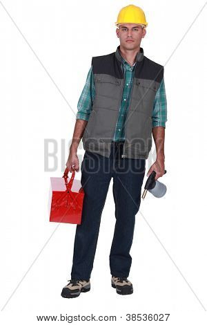 Worker with toolbox and Jug