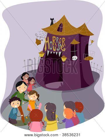Illustration of Kids Preparing to Go Inside a Horror House