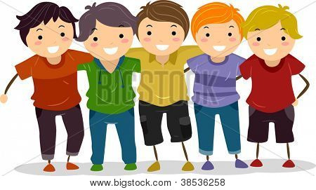 Illustration of a Group of Boys Huddled Together