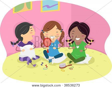 Illustration of Girls Having a Slumber Party