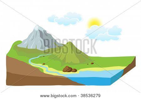 Earth slice with landscape, vector illustration