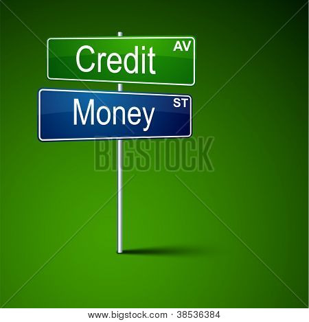Vector direction road sign with credit money words.
