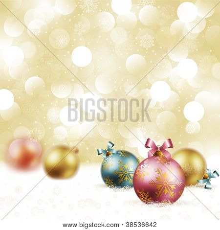 Christmas vintage background with baubles on snow. Check my portfolio for vector version.