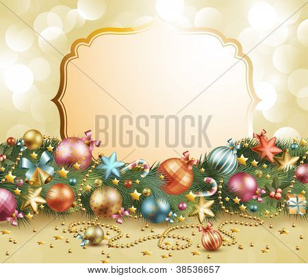 Christmas vintage garland with baubles and christmas tree. Check my portfolio for vector version.