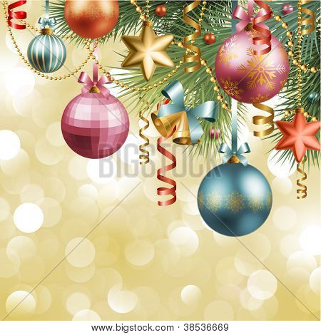 Christmas vintage background with baubles and christmas tree. Check my portfolio for vector version.