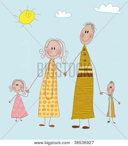 Happy Family - Mom, dad, boy and girl, four-member family holding hands on a sunny postcard; doodle style, children's drawing