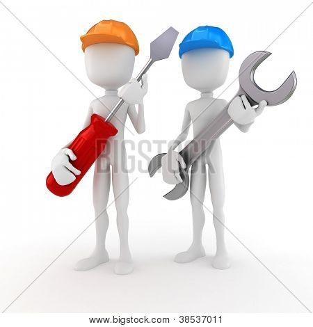 3d man holding a screwdriver and a wrench